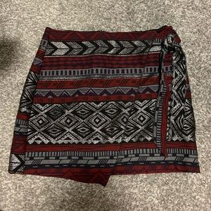 "Express ""holiday"" tribal print faux wrap skirt"